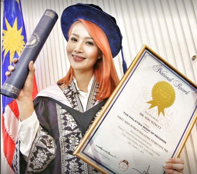 Dr. Soo Wincci, the first Malaysian beauty queen, singer, actress to earn her PhD (This image was taken from Dr. Soo Wincci's Facebook page)