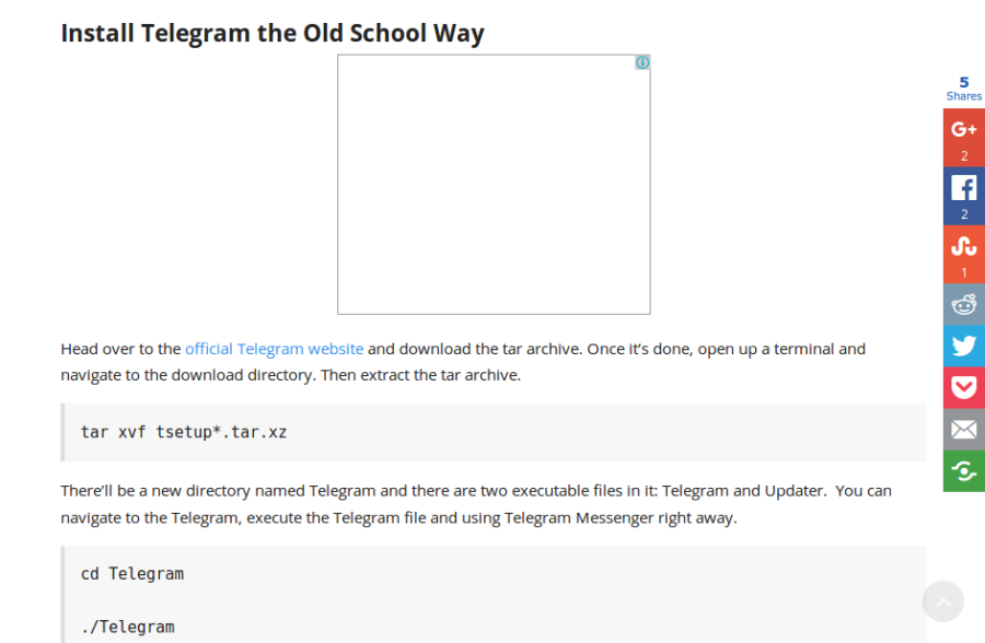 Good, clear & concise instruction to handle compressed file to install Telegram api.